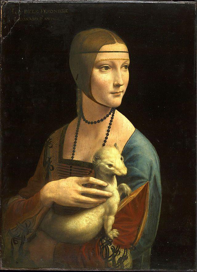 Leonardo da Vinci, Lady with an Ermine, 1489-1491, Location Czartoryski Museum, Kraków, Poland