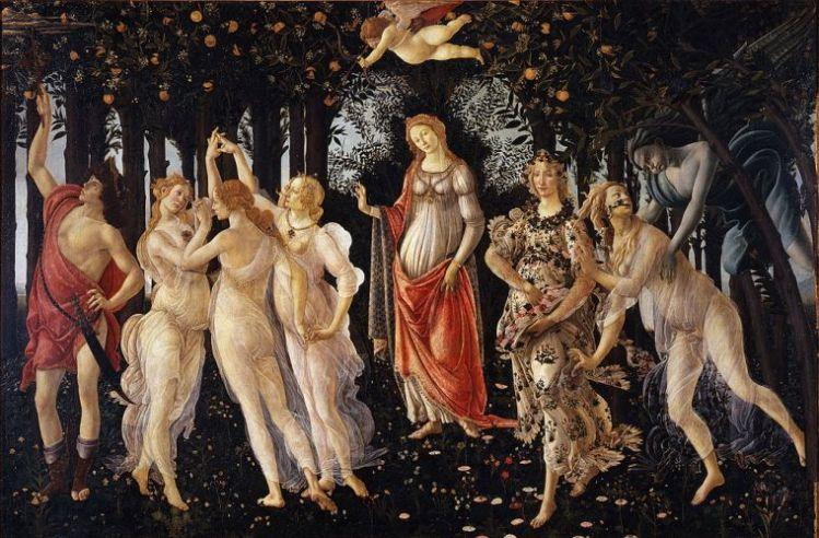 Sandro Botticelli, Primavera, 1482, Tempera su tavola, 203×314 cm, Galleria degli Uffizi, Firenze