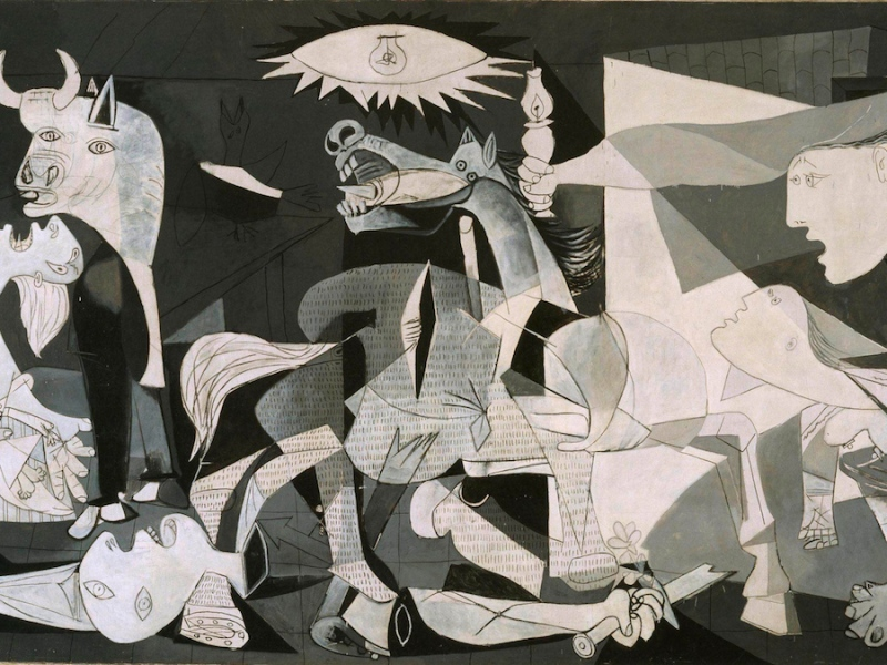 Picasso, Guernica, 1937, oil on canvas, 137.4 in × 305.5 in, Museo Reina Sofía, Madrid, Spain