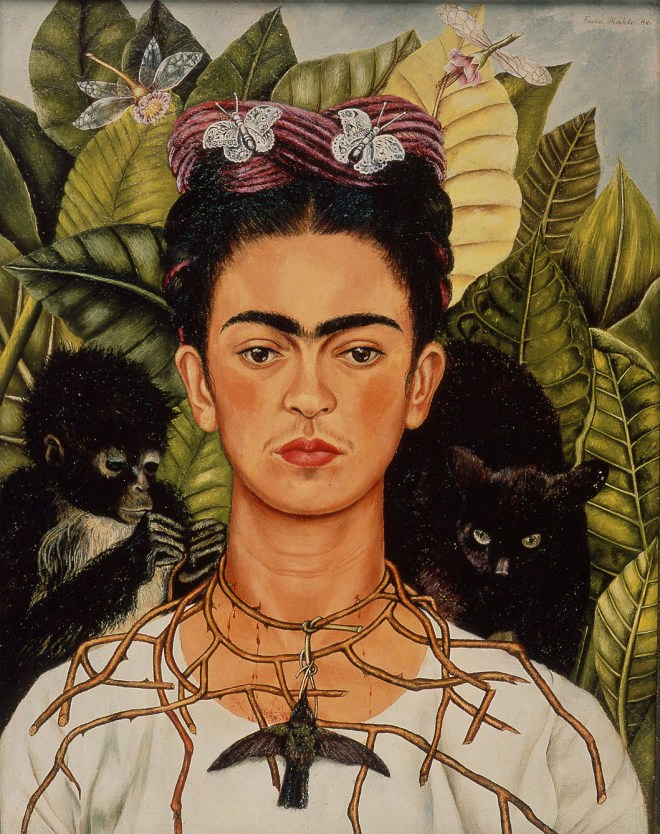 Frida Kahlo, Self-Portrait with Thorn Necklace and Hummingbird, 1940, Oil on canvas, 61.25 lookin cm × 47 cm (24.11 in × 18.5 in), Harry Ransom Center, Austin, Texas, Austin