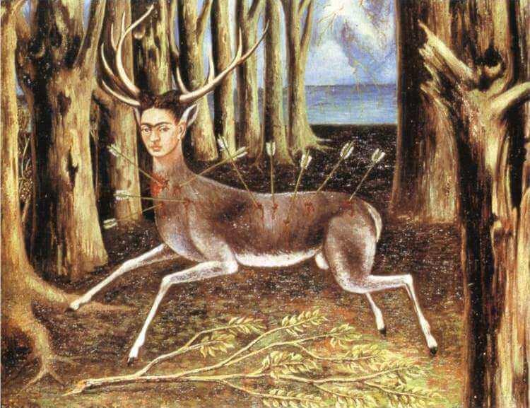 Frida Kahlo, The Wounded Deer, 1946, Oil on masonite, 22.4 cm × 30 cm (8.8 in × 12 in)